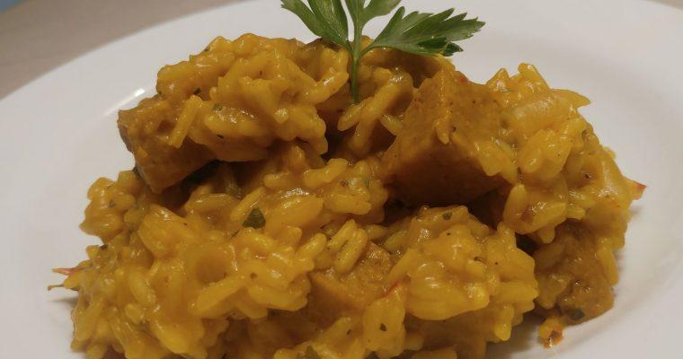 Guiso de arroz con seitán